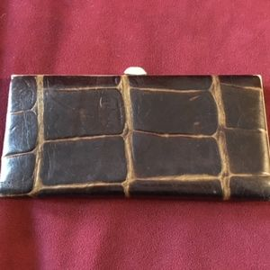 Lodis dark brown leather snap close wallet